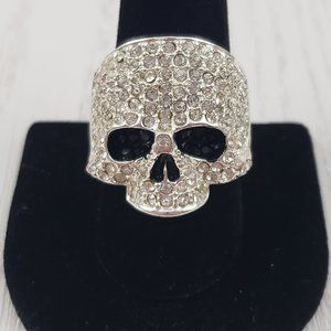 Jewelry - Silver Tone Rhinestone Skull Cocktail Ring Sz 8